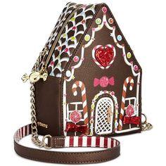 Betsey Johnson Gingerbread House Crossbody ($88) ❤ liked on Polyvore featuring bags, handbags, shoulder bags, multi, mini crossbody purse, crossbody shoulder bags, mini coin purse, crossbody purses and cross-body handbag