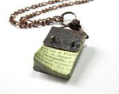 Vintage Style Industrial Chic Necklace, Antiqued Copper Necklace, Rustic Jewelry, Mini Book Necklace, Pendant Necklace