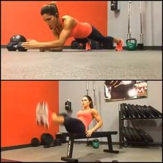 By @alexia_clark Core Super Set! Top exercise I'm using a 15lb dumbbell. You can use a plate if you want. Make sure you aren't leaning into your opposite hip. Keep your hips parallel to the ground and core tight! Bottom exercise alternating bench V-ups. Keep your legs as straight as possible! Do 4 rounds of each exercise for 60 seconds straight with a 20 second rest between. @alexia_clark