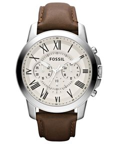 Fossil Men's Chronograph Grant Brown Leather Strap Watch 44mm FS4735