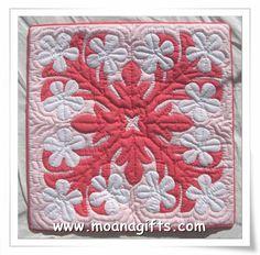 plumeria hawaiian quilt pillow