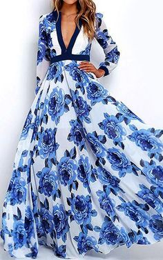 Plunge Floral Prom Maxi Dress from Gamiss via @bestmaxidress