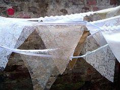 lace banner Need Vintage Linens for crafting - find 'em at Kitsch-y-Cool Vintage in Charlotte!