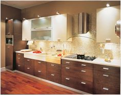 modern wood kitchen cabinets on The Arctic Glow: Kitchen Designs with White Cabinets Kitchen Cabinet Doors Only, Walnut Kitchen Cabinets, Dark Cabinets, Kitchen Colour Schemes, Color Schemes, Kitchen Paint, Cool Kitchens, Kitchen Remodel, Kitchen Reno