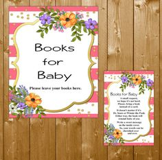 Books for Baby Foral, Baby Shower Book Request Insert Card, Pink and Gold Watercolor Floral Baby Shower, BBK04O Instant Download