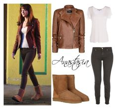 """""""Get the Look: Anastasia Steele"""" by ericapereiradia ❤ liked on Polyvore featuring Clayton, UGG Australia, 7 For All Mankind and MANGO"""