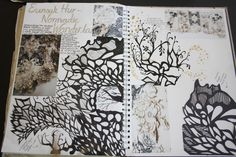 Katie Grimes. Artist Refrence, in sketchbook, looking at Eunsuk Hur. Page including fineliner illustration work and paper cut.  Dimensions: Double page spread in A3 sketch book