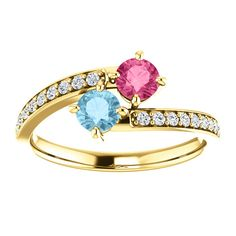 14k Gold AAA Pink Tourmaline, Aquamarine, and Diamond Bypass Ring by crystalcasmanjewelry.com