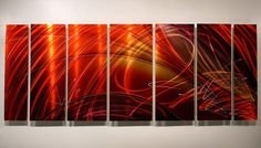 Contemporary Metal Abstract Wall Art Painting / Extra Large Red Tail Spin II XL Sculpture