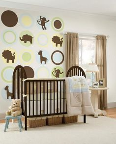 Baby Nursery, Simple Cream Rug With Nursery Braid Basket Under Crib Plus  Animal Wall Decal