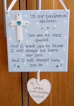 Personalised God Son Christening Godmother Godfather Baptism Poem Gift Plaque Sign