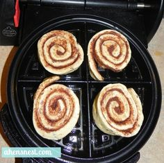 make cinnamon rolls in your waffle iron:  All you need is a tube of refrigerated Cinnamon Rolls.  Heat up your waffle maker and grease it with a bit of non-stick spray. Separate your rolls then place them into a waffle maker. Close the lid and press down slightly.  Set the timer for 2 1/2 – 3 minutes.  Once they are all done pile them on a platter and drizzle the included icing pack over top.