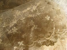 Gold Lace Fabric Embroidered Lace Fabric for Wedding by lacetime, $29.90