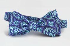purple aqua blue floral paisley bow tie, men's self tie bowtie in purple and blue, cotton freestyle bow tie floral paisley by dotandace on Etsy