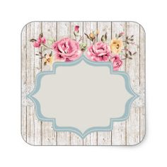 Blank Rustic Shabby Rose - Customizable Packaging Square Sticker