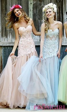 Strapless Sherri Hill Dress with Embroidered Bodice at PromGirl.com *Blush/Nude* MAID OF HONOR