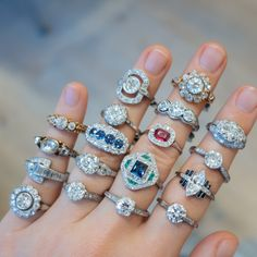 Our current favorites! Vintage engagement rings from Georgian, Victorian, Edwardian, and Art Deco eras.