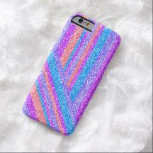 Faux Turquoise Coral Orange Red Pink Purple Glitter Stripes Pattern iPhone 6 Case