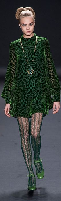 Anna Sui A/W 2013 NYFW - Green 60's style tunic dress & green patent shoes! Inspo for Shep's wedding!