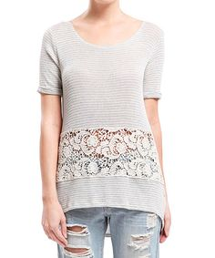 Look what I found on #zulily! Ivory & Gray Stripe Crochet-Panel Scoop Neck Top by Blu Pepper #zulilyfinds