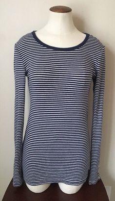 f578f52b96e63 Womens Gap Navy Blue White Striped Long Sleeve Top Size Medium