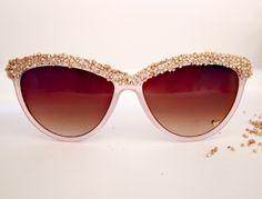 DIY Embellished Sunglasses. You Need: Sunglasses, Seed Beads, Glue, Clear Finger Nail Polish.