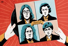 Illustration for an article in The Spectator in the UK. Are the Beatles worthy of the kind of recognition given to Handel and Chopin? Are they musical geniuses?