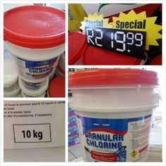 Fantastic special: 10kg Granular Chlorine at only R219.99! Ideal for sanitizing and cleaning your swimming pool