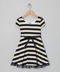 Take a look at this Navy Stripe A-Line Dress - Girls by Zunie & Pinky on #zulily today!