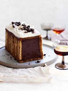Il diplomatico - chocolate mocha mousse filling encased in coffee soaked Madeira cake. Plan on 2 days ahead to make this cake | Gourmet Traveller