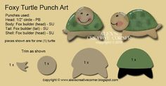 """Alex's Creative Corner: Foxy Turtles   Punches: tiny heart (1/4"""") - PB, posh heart - Posh Impressions, for punch art turtles see below Dies: Sunshine Wishes Thinlits - SU, Labels Framelits - SUinstruction sheet"""