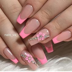 34 Luxury Coffin French Tip Nail Designs - pretty nails - Art French Tip Nail Designs, 3d Nail Designs, French Tip Nails, Acrylic Nail Designs, Pink Tip Nails, French Tip Design, Bright Pink Nails With Glitter, Fancy Nails Designs, Nail French
