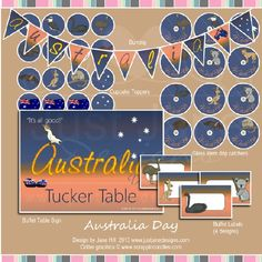 FREE Australia Day party printables at Just Jane Designs