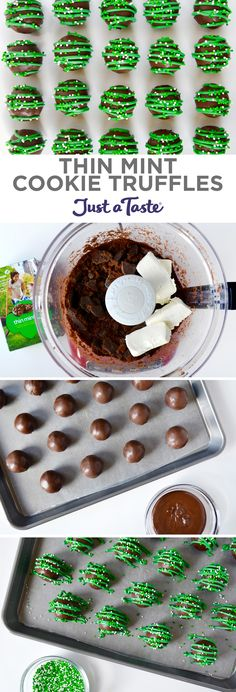Thin Mint Cookie Truffles recipe from justataste.com #recipe #girlscout