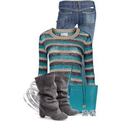 Sweater, Boots  Jeans, created by colierollers on Polyvore