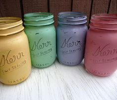 Painted Pint Size Mason Jars