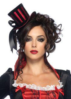 Burlesque Gothic Satin Mini Top Hat