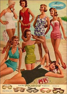 Hair was so important to the fifties look that no woman wanted it to get wet when swimming, so lavish bathing caps covered in flowers, petals and rubber spikes became essential beach accessories as seen on the woman on the left of the image. Sunglasses or spectacles were inlaid with diamante or scattered glitter dust.The exaggerated wings at the outer corners flared in the style of butterfly wings.