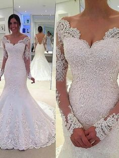 Trumpet/Mermaid V-neck Long Sleeves Lace Court Train Tulle Wedding Dresses SunnyDressy
