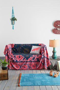 Magical Thinking Technicolor Medallion Tapestry Good idea to cover an ugly couch with it Feng Shui Design, Sofa Couch, Diy Couch, Bohemian Interior, Bohemian House, Bohemian Decor, Boho Chic, Couch Covers, My New Room