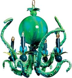 Funky, green octopus pendant. Get more bathroom lighting ideas http://www.pottymouthtours.com/let-bathroom-lighting-ideas/
