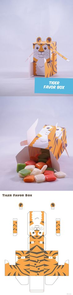 Create your own Tiger Favor Box. Perfect for Kids birthday party.
