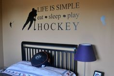 Life is Simple, Eat Sleep Play Hockey Wall Decal sticker quote. Hockey Player Kids Room, Home Sports Decor