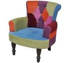 Fransk stol, med patchwork og armlæn