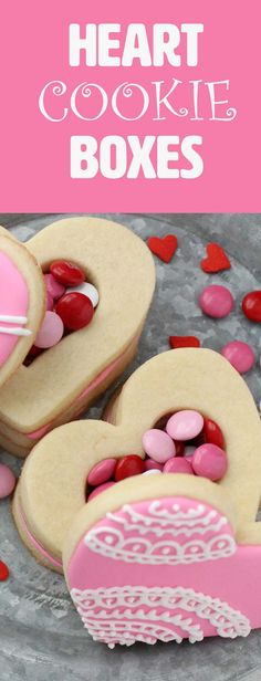 Heart Shaped Cookie Boxes-Almond-scented sugar cookies are stacked to hide the sweet surprise inside. A tasty way to show your love on Valentine's Day, Mother's Day or your anniversary. This sweet treat would be cute for a party or to surprise your kids on Feb. 14th. You can also make these homemade goodies for a fun dessert. These would be neat for a special announcement or even a gender reveal at a baby shower!