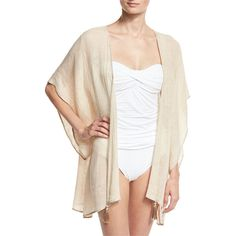 Flora Bella Baltic Embroidered Linen Kimono Coverup ($163) ❤ liked on Polyvore featuring swimwear, cover-ups, sand, tassel kimono, kimono swim cover up, kimono beach cover up, beach cover up kimono and beach cover up