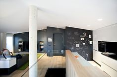 Apartments, Elegant Small Modern Duplex Apartment By N232 Arquitectura Featuring Hardwood Floor, Glass Half Wall, Living Space, Kitchen And Ceiling Lamp: Modern Minimalist Duplex Apartment Decor Specially Created for Young Couple