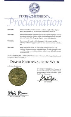 Minnesota Governor Mark Dayton's proclamation recognizing Diaper Need Awareness Week (Sept. 28 - Oct. 4, 2015) #DiaperNeed www.diaperneed.org