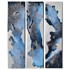Off Riverside Magic by Charlie: 60 x 16 Inch Wall Art, Set of Three by Ren Wil. @ This outstanding set is painted on metal in shades of black, blue, white and silver on curved boxes. Frame Wall Decor, Frames On Wall, Wall Art, Wall Décor, Magic S, Metallic Paint, Shades Of Black, Online Art Gallery, Art Pictures