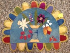 Wool Felt Spool and Flower Mat